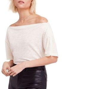Free People Ivory White Off Shoulder Knit Top $58